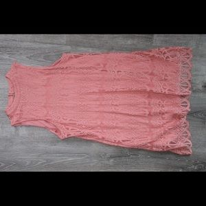 Coral pink lace dress